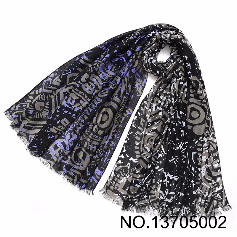 Black Gray Big Size Pictogram Print Hijab Scarf