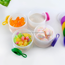 Loving heart multifunctional baby mini milk powder box,separate 4 compartments plastic snack container MA-6609