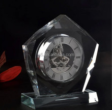 crystal pyramid clock /crystal pyramid shaped table clock/egypt crystal pyramid