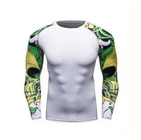 Private Label Wholesale Gym Wear custom rush guard compression shirt with sublimation long sleeves