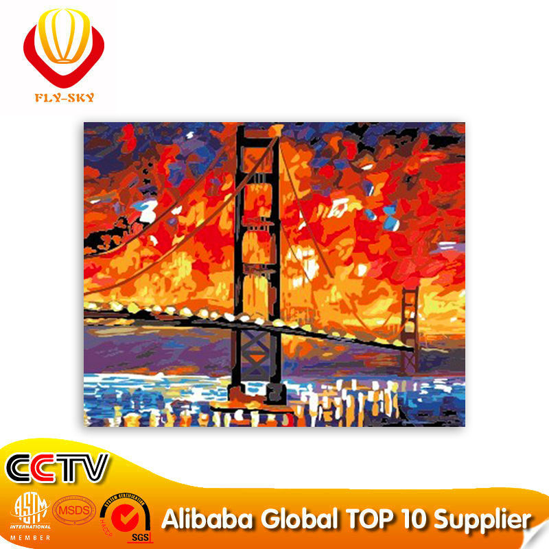 2015 new modern bridge diy paint by numbers Chinese painting (40*50cm)