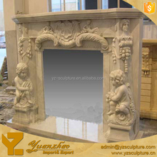 Yellow stone carved child angel Fireplace Surround for home decoraiton