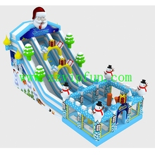 Outdoor Christmas Promotion Inflatable Dual Slide Fun City Aqua Park With Santa