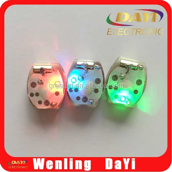 Multicolor motion sensor flashing light for clothing accessories