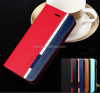 Contrast color Fashion PU Leather Wallet Flip Mobile Phone Case Cover For HTC G14