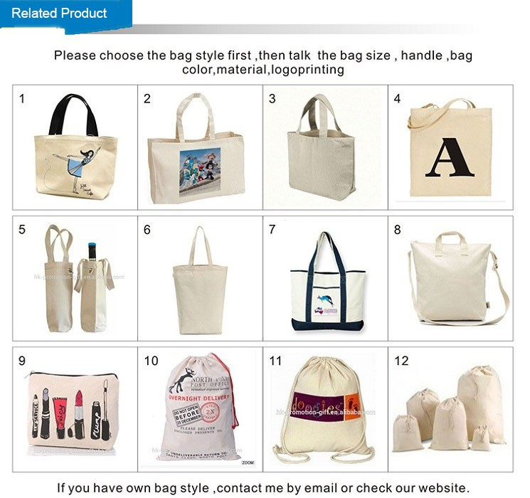 OEM cotton shopping bag Carrier Handbag white tote bag