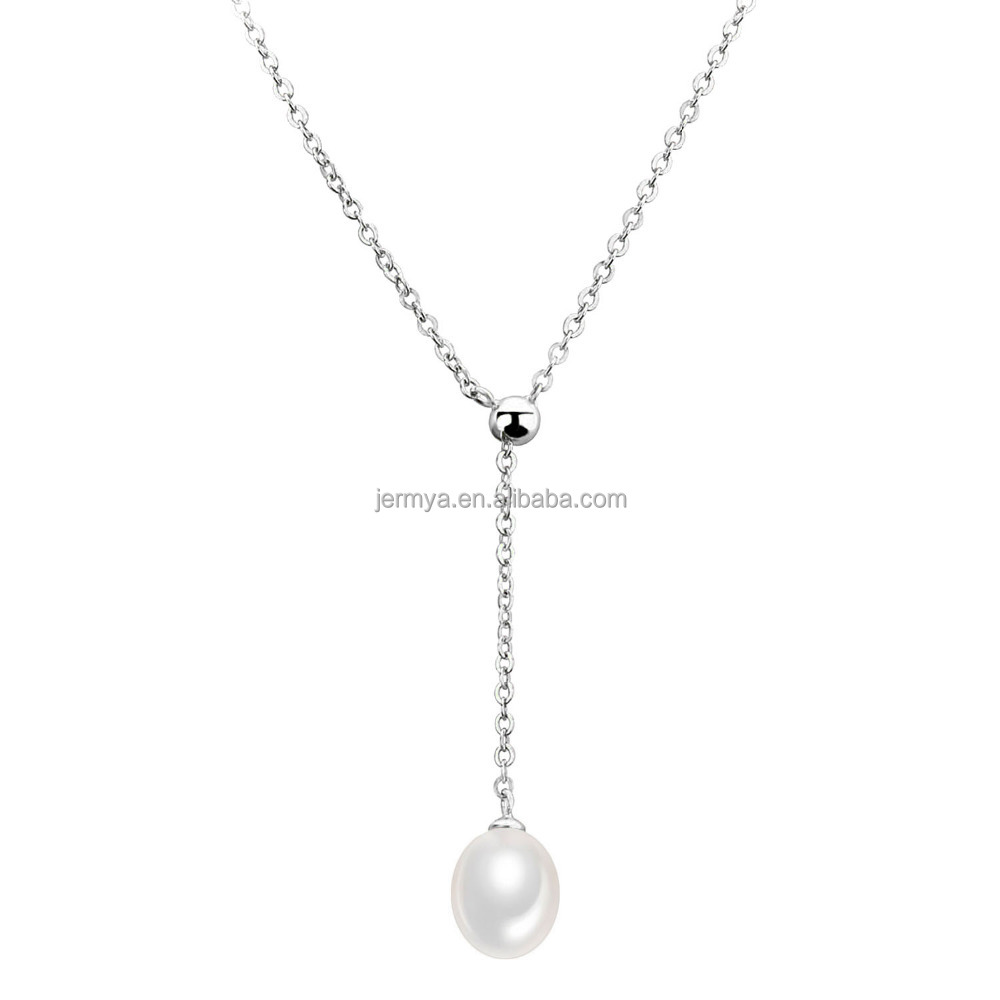 Jermya 925 Sterling Silver Freshwater Pearl Necklace Collar Y necklace Choker Oval Shape Pearl