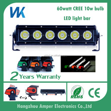 New goods 60w 12v 11inch one row DRL remote control IP68 aluminum alloy led light bar with OEM service
