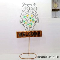 owl outdoor garden decor with LED light welcome sign