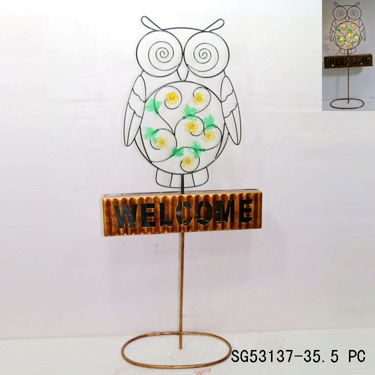 standing on welcome sign black metal wire owl for home decor