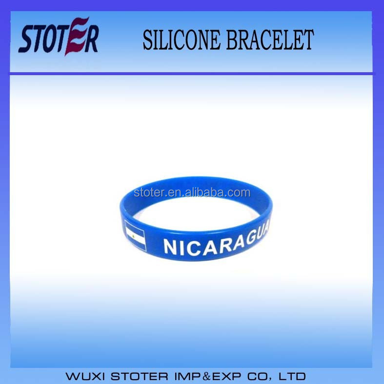 Promotion Gift Nicaragua Country Flag Printed Customized Silicone Wristband
