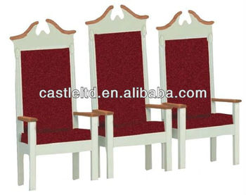 Solid wood church chair,church carved pulpit high back platform chair,with dark red fabric covered seat and back cusion