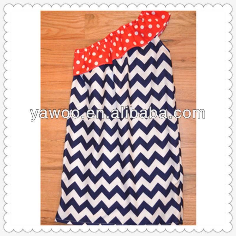 Fashion colorful import baby clothes kids girls off shoulder chevron dress