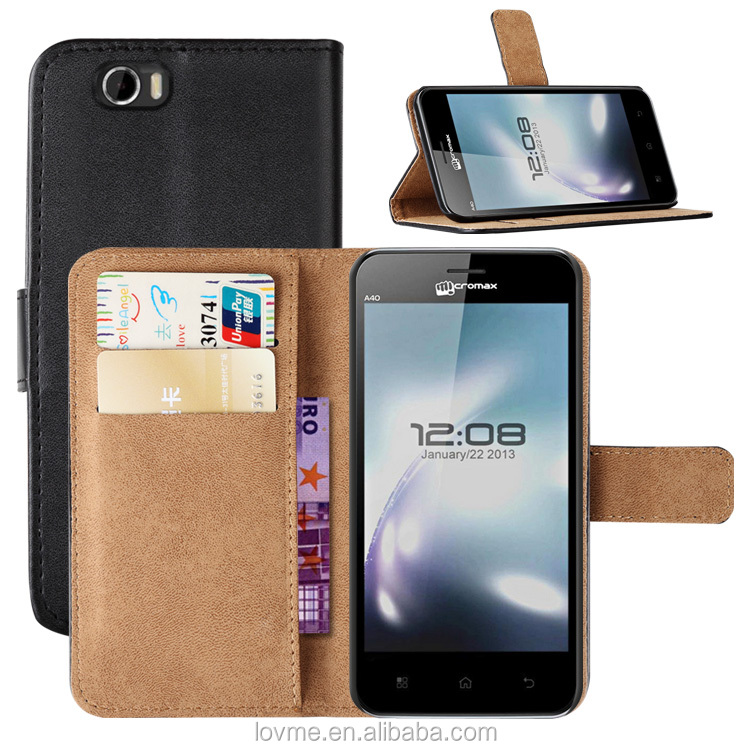 For Micromax A40 Book Flip Magnetic Wallet Leather Case Cover
