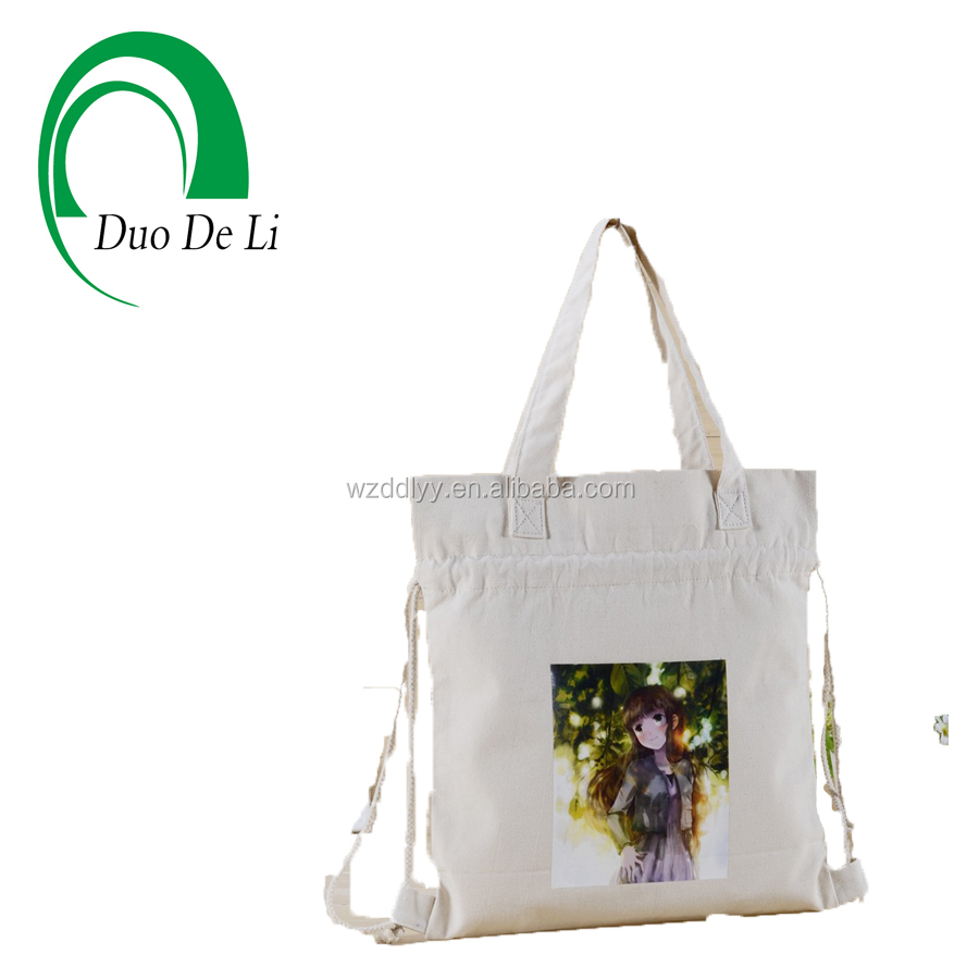European Standard heat transfer printed foldable cotton canvas drawstring tote bag