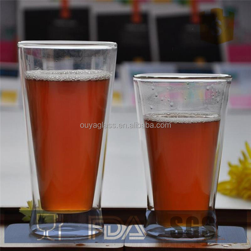 glassware distributors cooler /beer mugs mouth blown clear glass cup with various sizes for choice
