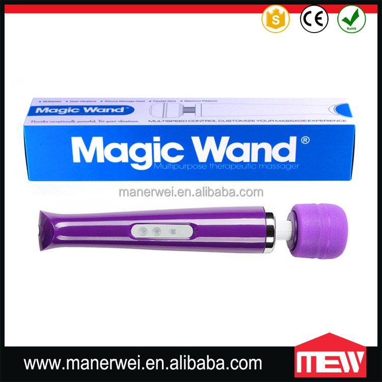 Cool Black Magic Wand Massager Wholesale Pussy Vibrating Sex Product