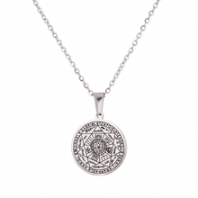 Simple Design Stainless Steel Round Occult Amulet Necklace