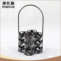 2016 hot sale black simple design metal wine bottle holder