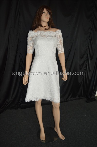 off-shoulder knee length lace sheath wedding dress with short sleeve