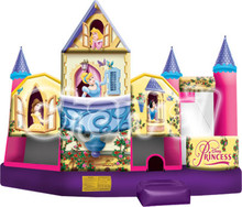 Inflatable Princess 5 in 1 combo /Inflatable bouncer with slide,climbing and play basketball
