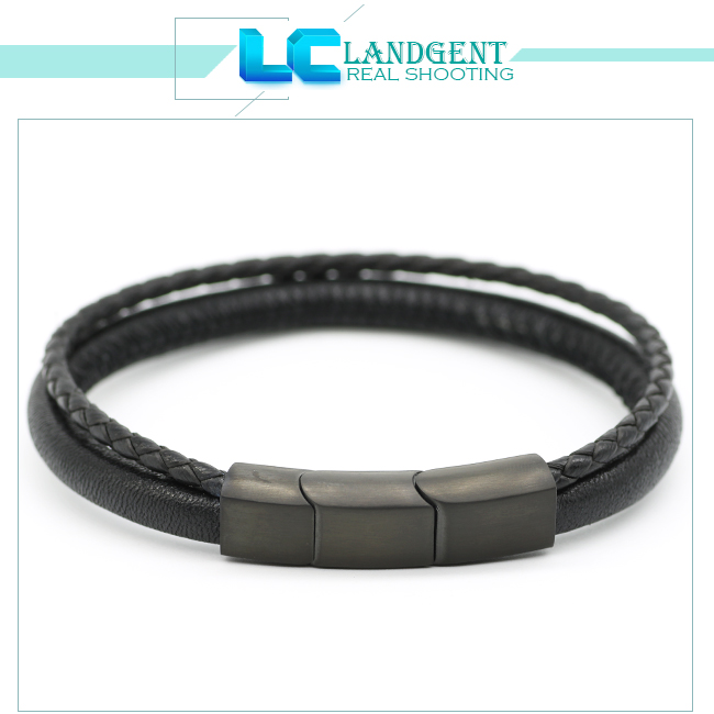 2018 wholesale men genuine leather bracelet high fashion double layer leather bracelets