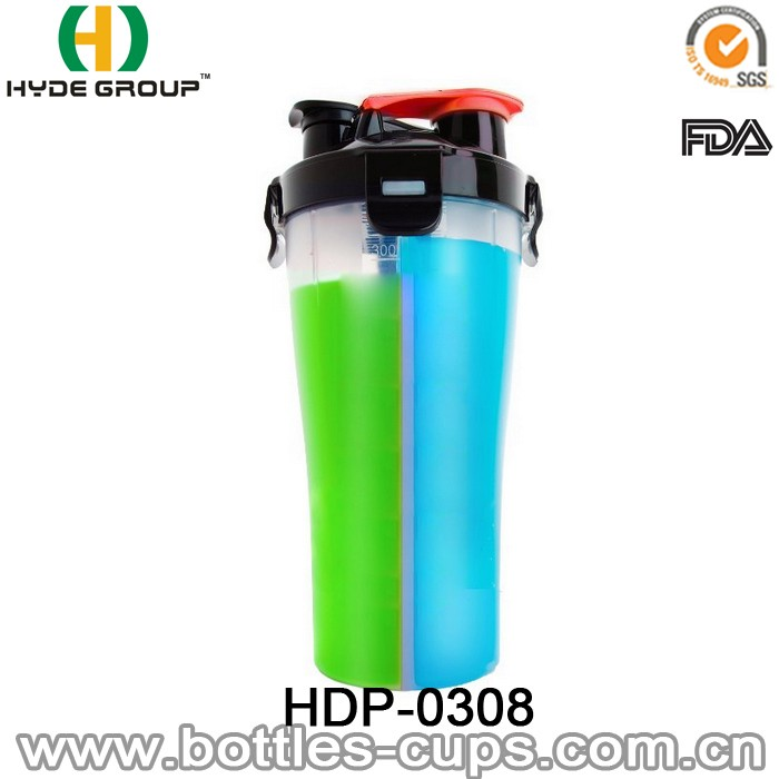 2 in 1 Twin Pack BPA Free Plastic Dual Shaker Bottle for Powder