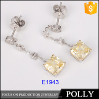 925 sterling silver ladies earrings designs yellow crystal jewelry