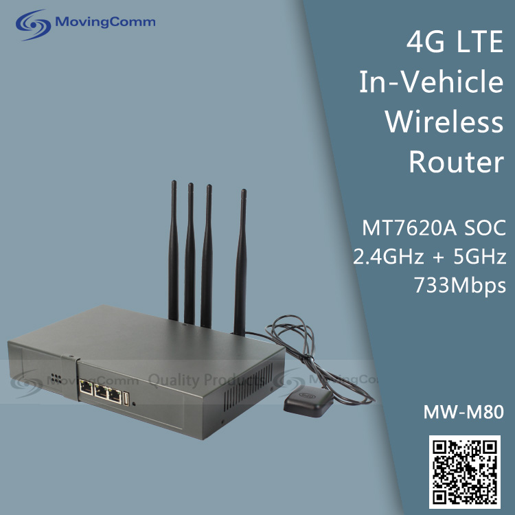 4G Wireless Vehicle LTE Router 733Mbps + 300Mbps Model MW-M80 MT7620A 802.11n 2.4GHz, 802.11ac 5GHz