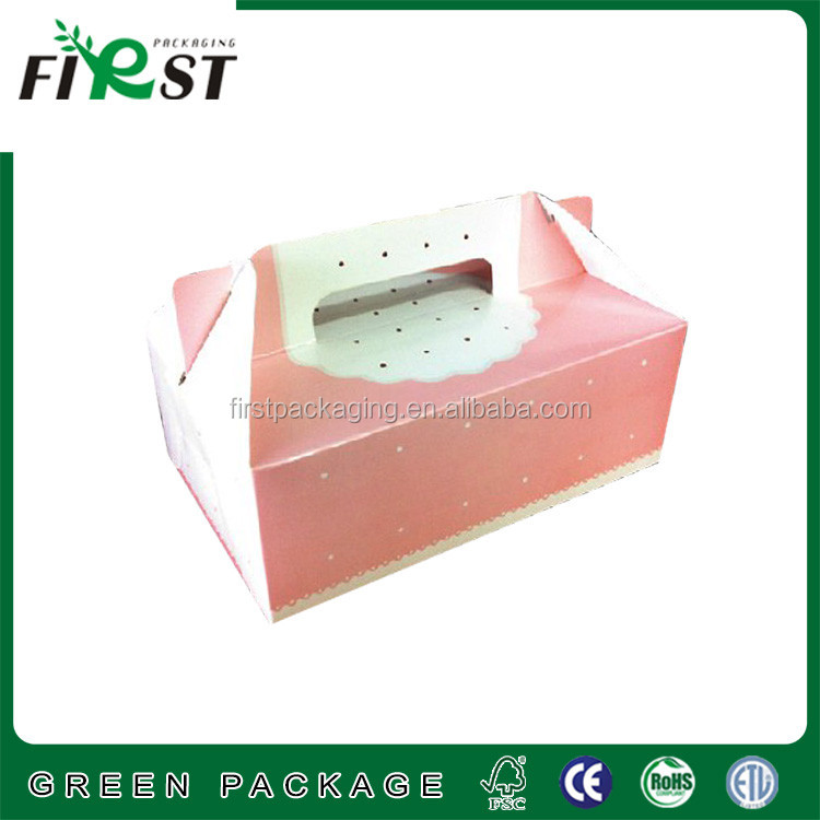 Custom portable cardboard box for cake,decorative Corrugated paper cake Box with handle