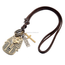 Magnetic Vintatge Zinc Alloy Bronze Color Egypt Pharaoh Portrait Leather Cord Cross Necklace