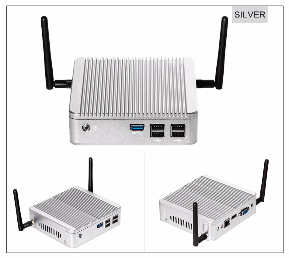fanless htpc intel N2815 HD VGA display output windows7 windows10 linux OS mini pc