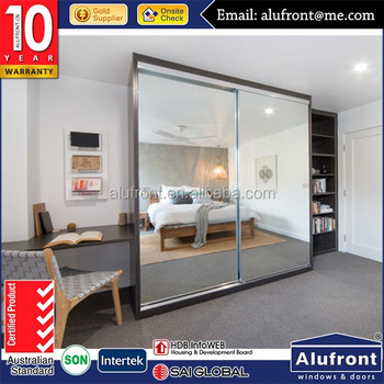 aluminum strong and durable wardrobe sliding door with tempered safe glass