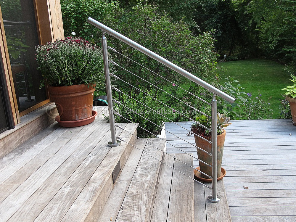 staircase stainless cable railing decorative garden fencing handrails for outdoor steps