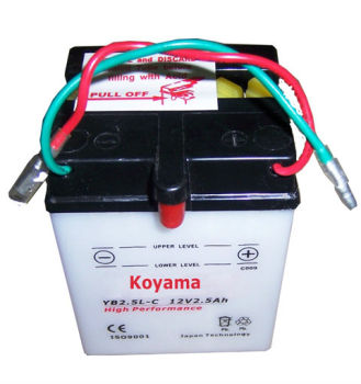 12V2.5AH-Motorcycle battery -YB2.5L-C dry charge type on sale