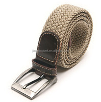 cotton fabric canvas plaited pu elastic weave mens belts womens polyester belt