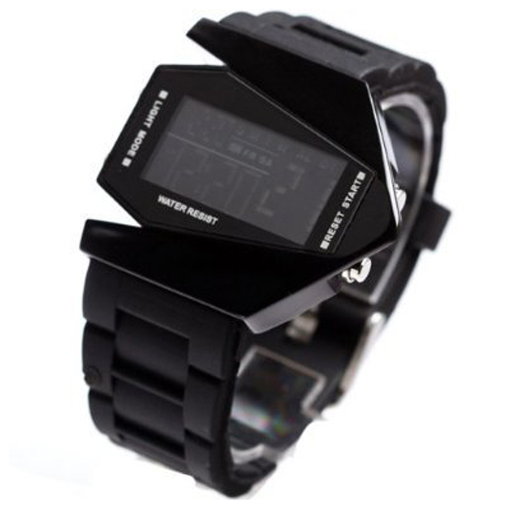 EDFY Elegant Plane Style Digital Display LED Silicone Wrist Watch Black Irregular Shape