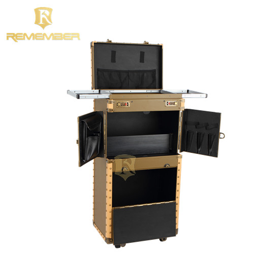 High Quality hairdressing Professional salon tool pvc on wheels rolling cosmetic makeup kits case makeup brushes