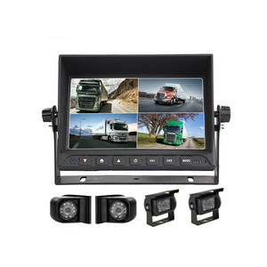 "7"" Heavy Duty QUAD Rear View Reverse Backup Monitor Camera System, Commercial Vehicle Use Surveillance System"