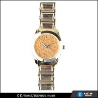 wholesale alibaba gold bracelet fashion lady watch, unique dial glitter watch