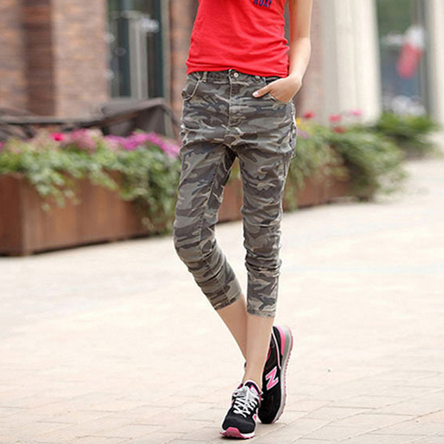 China supplier OEM customize make your own brand new womens 3 4 camouflage jeans trousers