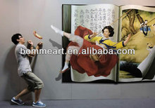 100% handmade 3D oil painting on canvas large size swing lady