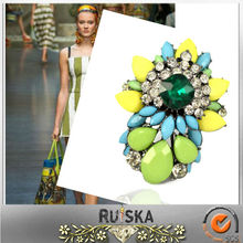 Wholesale Resin Beads Shourouk Style Fashion Rings Jewelry