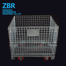 Industrial Flat Pack Metal Steel Cage Wire Basket Container for Storage