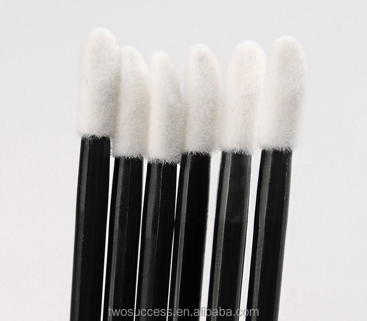 100pcs Hot Sale Black Bar Sponge Head Disposable Lip Brush For Beauty Tools