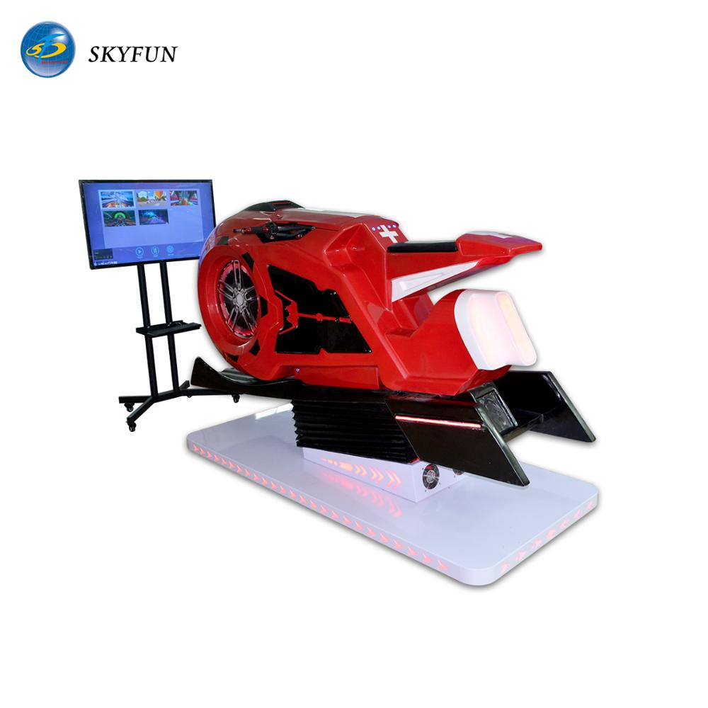 skyfun unique design interactive vr motorbike 9d vr simulator racing games car with big <strong>screen</strong> projector