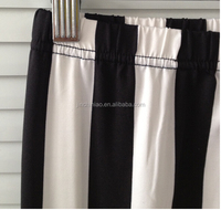 women's black and white stripes inner brushed warm elastic trousers