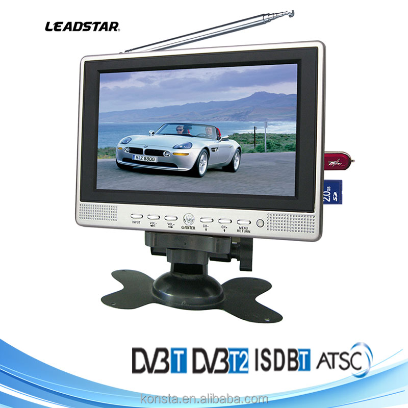 7 inch car standalone led lcd monitor with TV 12V USB DVB-T DVB-T2 digital TV with HD 1080P tv output USB recording PVR