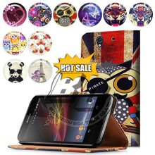 wholesale alibaba wallet stand printed pu leather flip case for sony xperia z l36h c6603