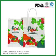 carry paper bag with flat handle for fruit, bread, tea, snack, coffe,candy, drink ,cloth, gift
